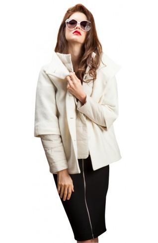 白色雙層拚色羽絨衣