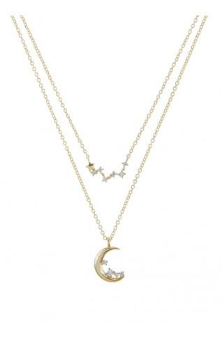 (CZ) AnChus 高質感方晶鋯石星座月亮吊飾項鍊