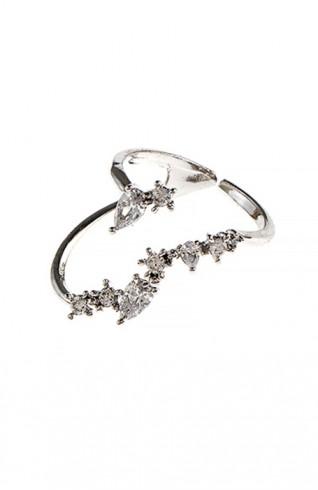 (CZ)藝術切割方晶鋯石造型戒指
