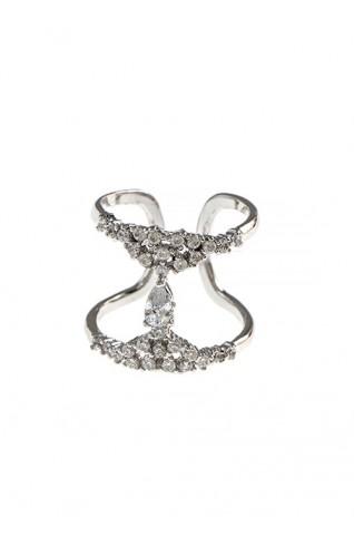(CZ) 方晶鋯石水滴鑽飾串金屬籠造型戒指