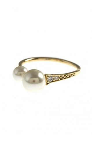 (CZ) 雙珍珠混搭鋯石造型戒指