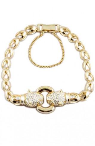 (CZ) 鑽方晶鋯石印度豹釦環手鍊手環