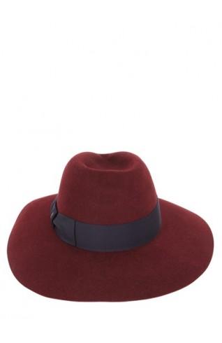 酒紅色兔毛大圓帽