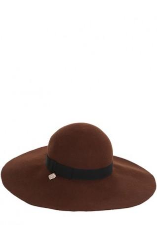 咖啡色羊毛大圓帽