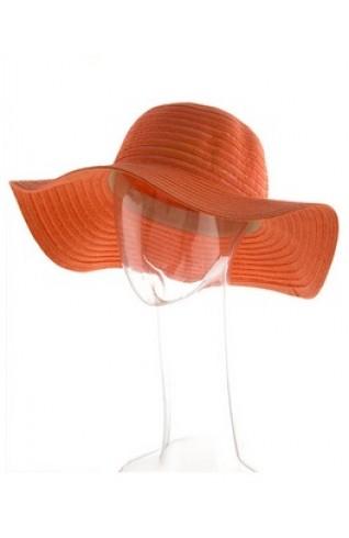 UPF50+橘色大帽簷草帽