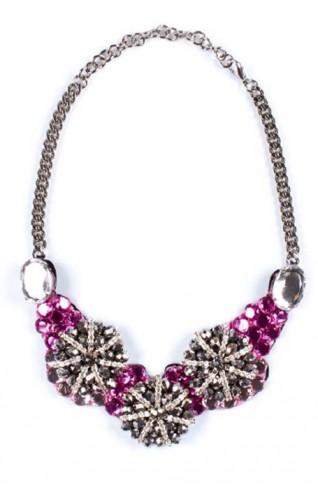 紫色施華洛世奇水晶玻璃造型項鍊