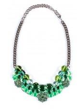 綠色寶石邊框刺繡項鍊