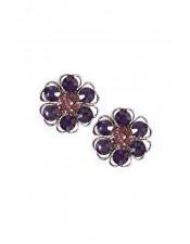 紫色玻璃石花朵夾式耳環