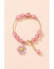 粉色波斯菊吊飾彈性手環