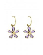 手工感紫色花朵造型耳環