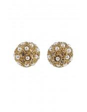立體浮雕珍珠水晶耳環