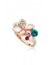玫瑰金彩色珠寶造型戒指