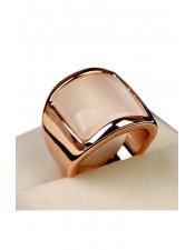 粉色透光蛋白石寬版造型戒指