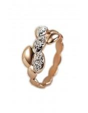 玫瑰金葉子波浪造型戒指