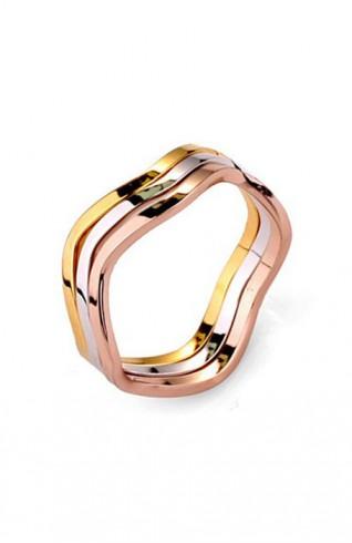 三色波浪玫瑰金三環戒指