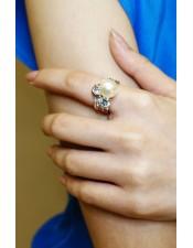 玫瑰金寬版方晶鋯石珍珠戒指