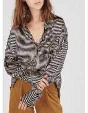 法式條紋睡衣襯衫