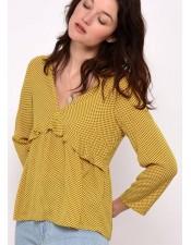 法式優雅V領絲質襯衫