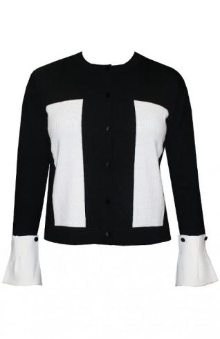黑色可拆式拋袖針織外套