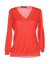 橘色特級美麗諾羊毛V領線衫