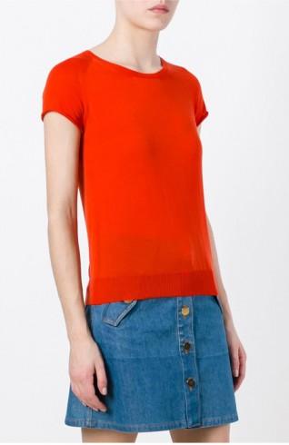 橘色短袖針織上衣