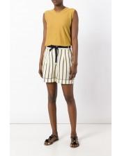 條紋綁帶絲綢混棉短褲