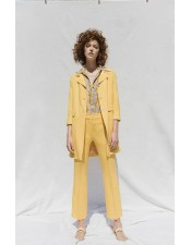 黃色印花彈性嫘縈襯衫