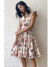 白色夢幻復古印花短洋裝