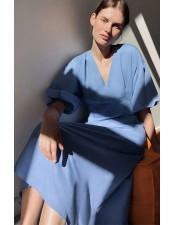 藍色復古澎袖V領洋裝