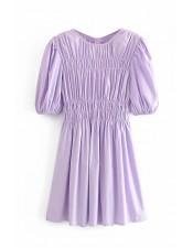 馬卡龍紫色澎袖抽皺短洋裝