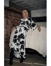 黑白時尚亞麻印花長裙