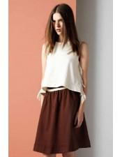 咖啡色棉質圓裙