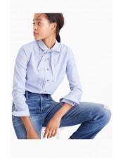 蝴蝶結直條紋長袖襯衫