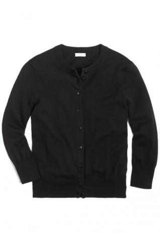 100%純棉七分袖開襟外套 黑色