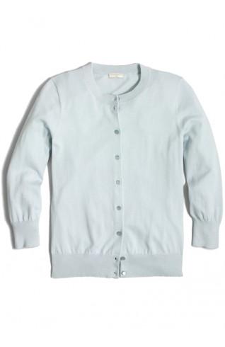 100%純棉七分袖開襟外套 水藍色