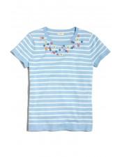 藍色線條造型繡珠純棉短T