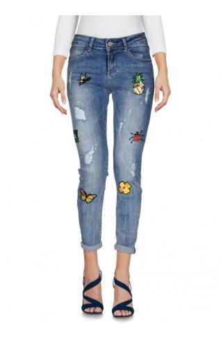 水果拼貼造型窄管牛仔褲