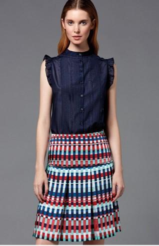 彩色格紋中腰短裙