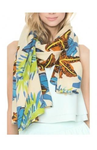 熱帶印花時尚長圍巾
